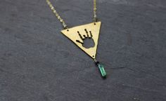 Not Fade Away Necklace / Grateful dead / handmade jewelry / Jerry Garcia handprint necklace Tourmaline green blue raw diamonds heady