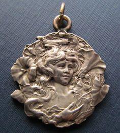 Art Nouveau French Sterling Silver Antique Medal