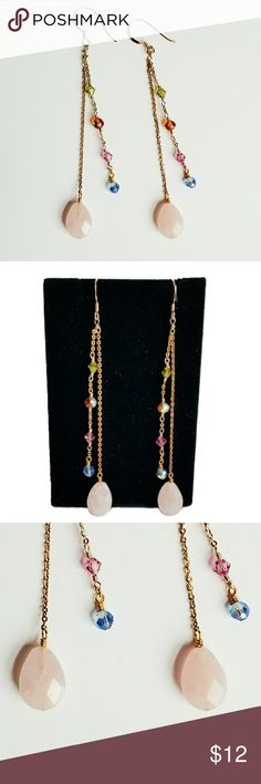 Sterling silver gemstone earrings Sterling silver gemstone earrings. Has a light pink gemstone with different colored beads on chains. It is stamped 925 on the fish hook.  Gold plated. Approximately 3 1/2 inches long. Jewelry Earrings