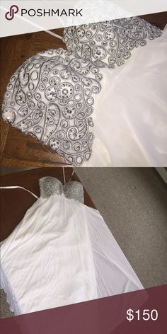 white strapless prom dress white strapless prom dress. worn once with NO damage Dresses Prom