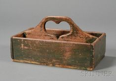 Green-painted Wooden Cutlery Box with Cut-out Heart-shaped Handle | Sale Number 2468, Lot Number 25 | Skinner Auctioneers #PrimitiveCountryDecorating