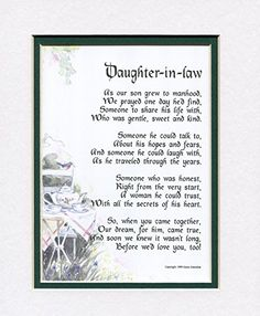 A Gift For Daughter In Law 89 Touching 8x10 Poem Double Matted White Royal Blue And Enhanced With Watercolor Graphics Genie S Poems
