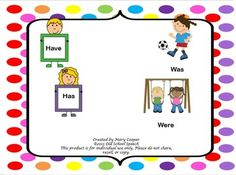 Cards to aid in teaching children to use have/has correctly. Includes:4 Cards with sentences for each of the following pronouns: I, you, he, she, they, we4 Cards without sentences for each of the following pronouns: I, you, he, she, they, we1 Chart depicting when to use has/haveCards to aid in teaching children to use was/were correctly.