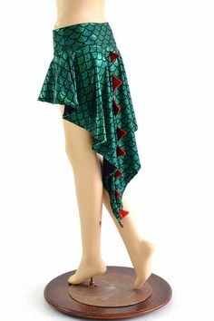Dragon Tail Skirt in Green Dragon Holographic with Red Sparkly Jewel Spikes & Hi Lo Hemline 154118 Dragon Tail, Running Wear, Green Dragon, Fabric Names, All The Way Down, Clubwear, Holographic, Hemline, Ballet Skirt
