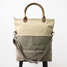 Color Matching Canvas Leather Versatile Casual Shoulder Bag - Buykud