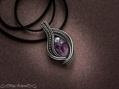 Amethyst silver pendant purple pendant Wire wrapped necklace
