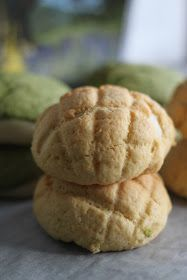 Jane's Corner: 原味菠萝包,抹茶红豆菠萝包 (melon pan)