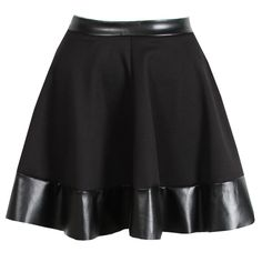 Black Skater Skirt with PU Trim