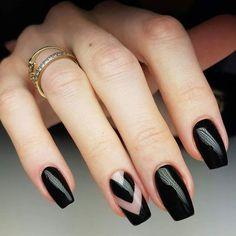 Black Negative Space = Truly perfect from @indigonails. #negativespacenails #blacknails