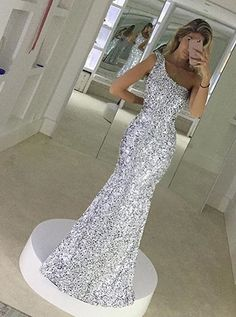 Stunning One Shoulder Floor-Length Silver Mermaid Sequins Prom Dress