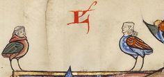 Two human/bird hybrids; from Feudal Custom of Aragon; ca. 1290-1310