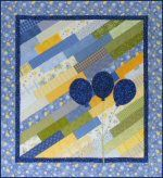 Diagonal Strips Easy Baby Quilt Pattern with Balloons