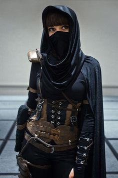 "Steampunk ""battle"" or war attire with a possible Ninja influence or influences from the Middle Eastern cultures."