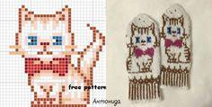 "Варежки ""Киска"".Антонида. Knitted Mittens Pattern, Knit Mittens, Tapestry Crochet, Knitting Charts, Free Pattern, Gloves, Cross Stitch, Socks, Gatos"
