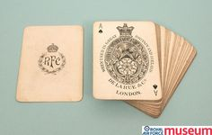 RFC playing cards.    This pack of Royal Flying Corps playing cards is one of a large number of commemorative items featuring the RFC badge.