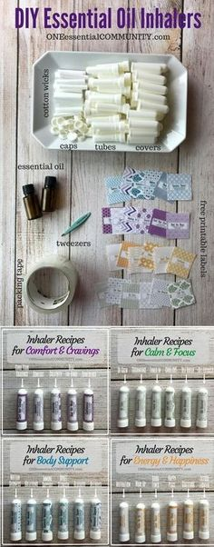 24 Essential Oil Inhaler Recipes for allergies, headaches, cravings, stress, energy, focus, calming and more!