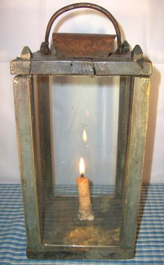 19th c TREEN CANDLE BARN LANTERN OLD BLUE early lighting   Great old lantern – I GUARANTEE TO BE ORIGINAL sold  815.00