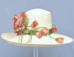 Ivory+Hand+Woven+Equador+Straw+Women+Hat+by+MakowskyMillinery,+$245.00