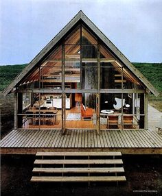 Windows, A-frame, deck. Vintage modern rustic. Good.