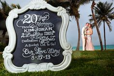 Celebrating their 20th wedding anniversary at the Maroma Spa and Resort in the Riviera Maya. Kim is a chalk board artist at @Kimberly McFadden and made this a very personal shoot with her own chalk board, so sweet and talented!  Mexico wedding photographers Del Sol Photography