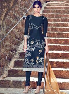 Navy Blue Cream Embroidery Work Designer Churidar Cotton Satin Suit http://www.angelnx.com/Salwar-Kameez/Churidar-Suits