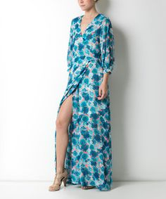 Another great find on #zulily! Blue & Pink Floral Surplice Caftan Maxi Dress by CQ #zulilyfinds