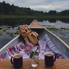 Canoeing with blankets and hot chocolate would be a perfect date