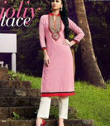 Buy Faux Cotton Adorn Peach Colour Patch Embroidered Printed Casual Wear Women's Kurtas party-wear-kurti online