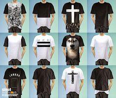 SIMS4 marigold: boxy T-shirts_black&white_박시 티셔츠_블랙&화이트 버전_남성 의류