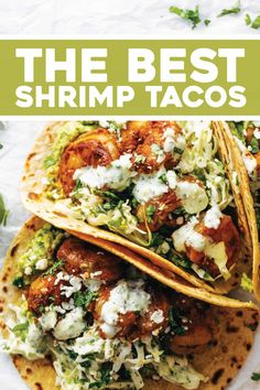 The Best Shrimp Tacos with Garlic Cilantro Lime Slaw - ready in about 30 minutes and loaded with flavor and texture. SO YUM! #tacos #tacotuesday #shrimp | pinchofyum.com