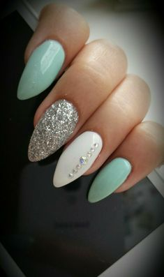 Almond Nails. White And Silver Hauls. Nails With Rhinestones. Blue nails. Acrylic Nails.