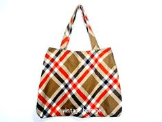 upcycled tote bag made of tanorange plaid wool by VintageHomage, $14.00