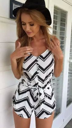 White Chevron Print Cami Rompers Playsuits