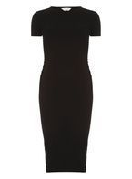 Womens **Maternity Black Cap Sleeve Ruched Bodycon Dress- Black