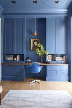 Colors for the home office very stylish furnishings and interior design in a soft shade of blue books . Kitchen Cabinets Decor, Kitchen Cabinet Colors, Cabinet Decor, Office Cupboards, Home Office Design, Home Office Decor, Home Design, Design Design, Chair Design
