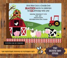 Farm Animal Birthday Invitation - Barnyard Birthday Invitation - First, 1st, 2nd, 3rd, 4th, 5th, 6th Birthday Invitation - Item 0139 by TheHoneyBeePress on Etsy https://www.etsy.com/listing/168722275/farm-animal-birthday-invitation-barnyard