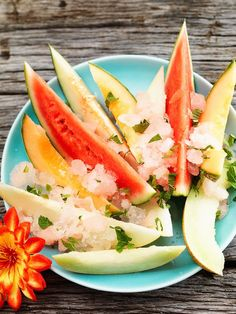 Meloenen met grapefruitgranita