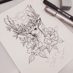 Breathtaking picture result at hand this drawing from bouquet with deer antlers . - Breathtaking picture result at hand this drawing from bouquet with deer antlers - Neue Tattoos, Body Art Tattoos, Tattoo Drawings, Cool Tattoos, Ink Tattoos, Tattoo Sketches, Tatoos, Deer Tattoo, Tatoo Art