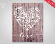 floral heart on wood, love