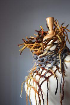 Nuno Collage Felt Scarf by Svitlana Body Adornment, Sticks And Stones, Neck Piece, Nuno Felting, Orange Grey, Fabric Manipulation, Felt Art, Wool Felt, Felted Wool