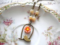Bird Necklace Pastel Sunflower Pendant Necklace Flower Necklace Bird Cage Pendant