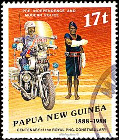 PAPUA NEW GUINEA.  Royal Papua New Guinea Police Force. HISTORIC ASPECT OF THE FORCE.  MOTORCYCLE CONSTABLE & PRE-INDEPENDENCE OFFICER WEARING A LAP-LAP.  Scott 691 A158, Issued 1988 June 15, Litho., Uwmk., Perf. 14 x 15, 17t. /ldb.