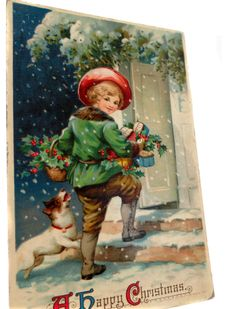 Richly Colored Edwardian 1911 Vintage Postcard With A Happy Christmas Message Unposted Divided Back Produced in Germany by StructureandSpice on Etsy