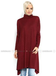 2368054da61 Bat Sleeve Tunic - Red - Tunics - Modanisa Red Tunic, Bat Sleeve, Modest