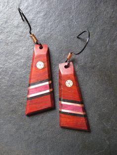 Wood Earrings  Brass Earrings  Mosaic Pins  Metal  by gammamike, $36.00