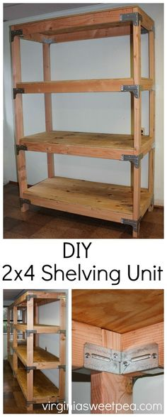 Diy shelving unit - learn how to make this useful piece for your home. Diy Storage Shelves, Diy Garage Storage, Garage Shelving, Storage Room, Furniture Projects, Furniture Making, Home Furniture, Garage Furniture, Furniture Repair