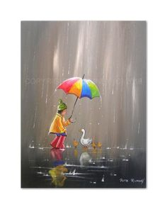 PETE RUMNEY FINE ART BUY ORIGINAL ACRYLIC OIL PAINTING HAPPY FAMILY DUCKS FUN in…