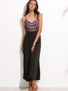 Black Open Back Geometric Print Dress -SheIn(Sheinside) Mobile Site