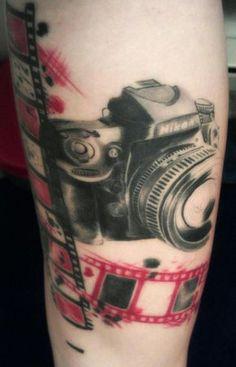 Nikon Camera Tattoo With Film