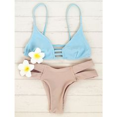 Double Strap Bikini Set ($30) ❤ liked on Polyvore featuring swimwear, bikinis, bikini swim wear, bikini beachwear, bikini two piece and bikini swimwear
